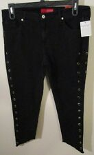 NWT GUESS Womens Caro Grommet Skinny Cropped Jeans 32 Jet Black MSRP$128