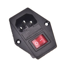 NEW 3 Pin AC Inlet Male Plug Power Socket With Fuse Switch 10A 250V 3P.ca