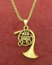 French Horn Necklace Gold Plated Charm Pendant and Chain music Jewelry new