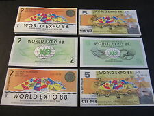 Lot of 100 pieces - Australian 1988 World Expo - 50 each $2 and $5 Notes