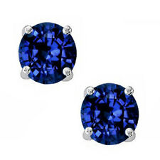 0.50-2.00 CT 925 Sterling Silver Blue Sapphire Round Stud Earrings w/ Screw Back
