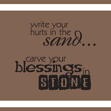 WRITE YOUR HURTS IN THE SAND BLESSING STONE DECAL WALL VINYL STICKER FAMILY ROOM