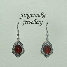 PERSIAN ART STYLE CARNELIAN RED GLASS DARK SILVER PLATED EARRINGS V114