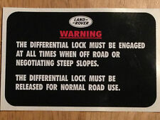 Defender Military Land Rover XD Wolf WMIK 90 110 Diff Lock Warning Decal X 1