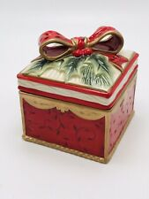 Fitz & Floyd Lidded Red Christmas Box with Bow - Yuletide Traditions