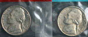 1969 D and S Uncirculated Jefferson Nickel 5 Cents Two Coin Lot from Cellos 5c
