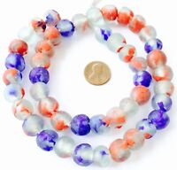 Handmade Ghana Red Clear and Blue Krobo recycled Glass African trade Beads