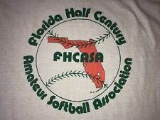 Vintage 80s 90s FHCASA Florida Half Century Amateur Softball USA 50/50 T-Shirt