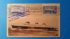 FRANCE CARTE MAXIMUM YVERT 299 PAQUEBOT NORMANDIE 1F50 LE HAVRE 1935 L 157