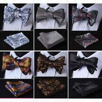 HISDERN Paisley Men Woven Silk Wedding Self Bow Tie handkerchief Set#RF3