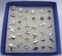 Wholesale lots Bulk 24 Pairs Unisex Mix Styles Silver Plated Stud Earrings Gift
