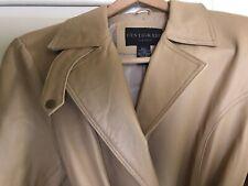 Womens Vintage 1970s Waist-Tie Leather Coat Size L