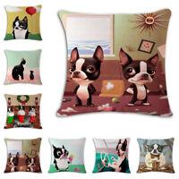 Pitbull Spoof Linen Cotton Throw Pillow Case Cushion Cover Home Sofa Decor