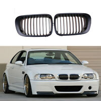 Matte Black Front Bumper Kidney Grille Grill For BMW E46 3Series Coupe 1998-2002