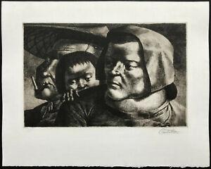 MID-CENTURY Modern ~ AMERICAN SURREALIST ~ 1947 Etching FEDERICO CASTELLON