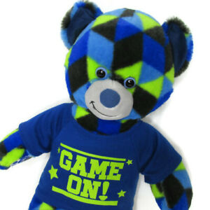 Build a Bear Game On Shirt Gamer Multicolor Geometric Plush Sport Blue Green