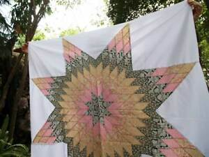 Beautiful star quilt top, Pink,Black, Ready to quilt top, Ready to ship