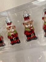Pottery Barn Mini Mercury Glass red elf Set Of 6 Christmas Ornament NEW in box