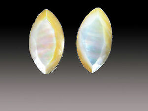 SALE - AMY KAHN RUSSELL FACETED MOTHER-OF-PEARL CLIP/POST EARRINGS