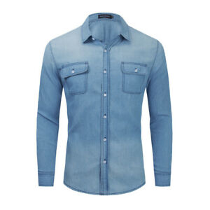 Mens Long Sleeve Denim Shirt Casual Slim Fit Button Up Collared Tops T-Shirts