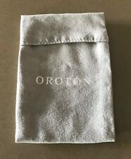 Pre-owned OROTON Light Grey Suede Look & Feel Keychain/Jewellery Pouch