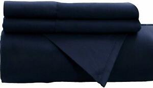 New Persian Navy Flat Sheet 1800 Collection Wrinkle Free Soft Solid Top Sheet