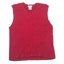 Talbots V-neck Knit Sweater Size S Small Red Sleeveless Fisherman Pullover Knit