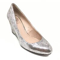 Women's Vince Camuto Melle Wedge Pump Heels Shoes Size 6 B Silver Leather AB13