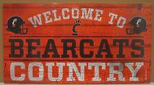 "CINCINNATI BEARCATS WELCOME TO BEARCATS COUNTRY WOOD SIGN 13""X24'' NEW WINCRAFT"