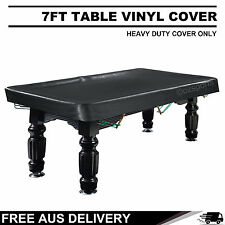 7FT Black Heavy Duty Fitted Pool Snooker Vinyl Table Cover Free Post