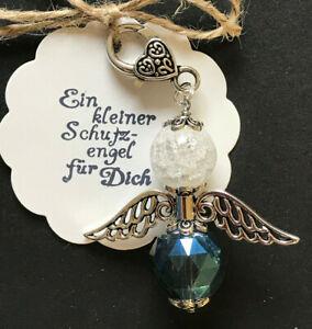 XXL SCHUTZENGEL BIG ANGEL GLAS FACETTIERT ca.9,5cm SCHLÜSSELANHÄNGER blau