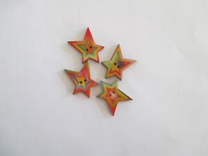 4 x 30mm High BRIGHT STAR on Natural  Wooden Button 2 Holes No .1648