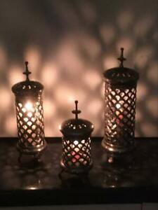 Vintage Graduated Set Pierced Chrome Footed Candle Holders - Retro Freestanding