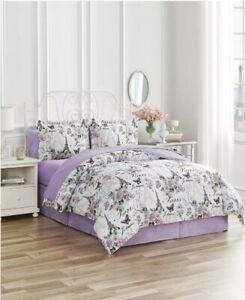 Purple Paris Eiffel Tower & Flowers: Reversible Twin Comforter Set (6 Piece Set)