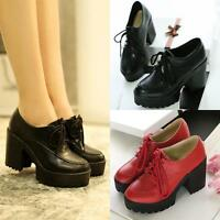 Vintage womens chic chunky heel platform lace up work date shoes Pumps 4color
