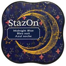 New STAZ-ON  Rubber stamp SOLVENT Ink pad MIDNIGHT BLUE free US ship
