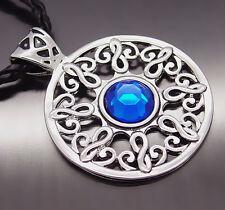 "Men Boy Celtic Sun Sapphire Blue Silver Tone Pewter Pendant with 20"" Necklace"