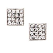 14K Solid White Gold 8MM Square Cut Prong Set Cubic Zircon Studs ER-PEW17