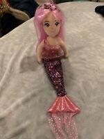 Aurora World Sea Sparkles Crystal Mermaid Plush Stuffed Animal Doll Pink Leopard