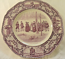 """Colonial Times by CROWN DUCAL  """"Going to Church""""  9 7/8"""" Purple Dinner Plate"""