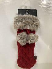 New listing Ugg Wine Bottle Holder Bag Cooler Red Cableknit Faux Fur Trim New