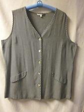 Studio Woman 2X Long Vest Black & White Checks Shell Button Down