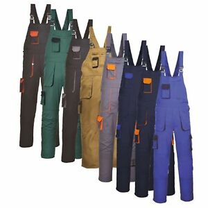 Men's Contrast Painters Work Wear Bib and Brace Overall Coverall Elastic Back BN