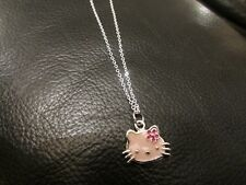 Silver plated necklace pink enamel kitty 16.5 inch metal chain link no stone