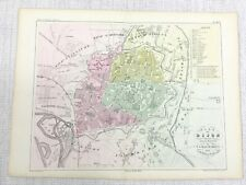 1853 Antique French Map Dijon France City Street Plan Hand Coloured Engraving