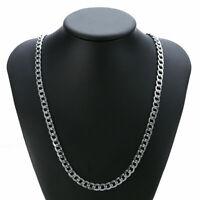 24'' 7MM Collier Halskette Edelstahl Kuban Massiv Silber Schmuck Herren Damen