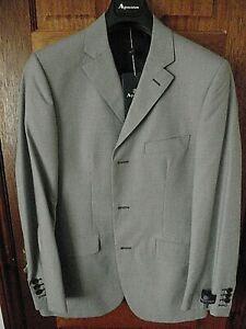 "NEW Mens AQUASCUTUM Black & White Woven Cotton Formal Jacket Size UK 40""  R"