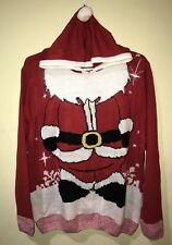 Party Sweater Ugly Christmas Sweater Men Santa Claus Hoodie Furry Red Knit Sz M