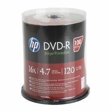100 HP 16X Blank DVD-R DVDR 4.7GB White Inkjet Printable Disc Spindle EXPEDITED