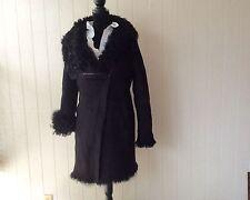 $2995 NWOT AUTH DKNY BLACK CURLY LAMB SHEARLING  FUR COAT ZIPPER JACKET  Sz M